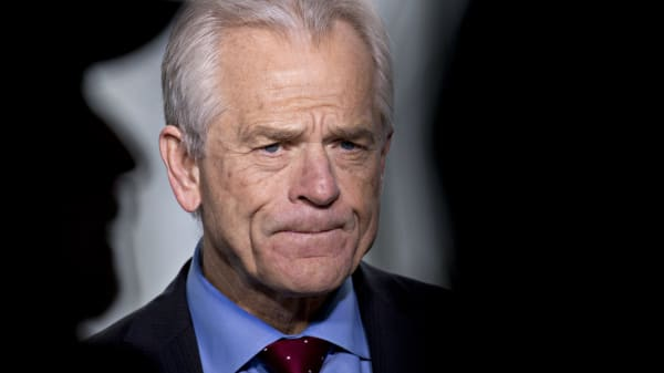 Peter Navarro, director of the National Trade Council, pauses during an interview outside the White House.