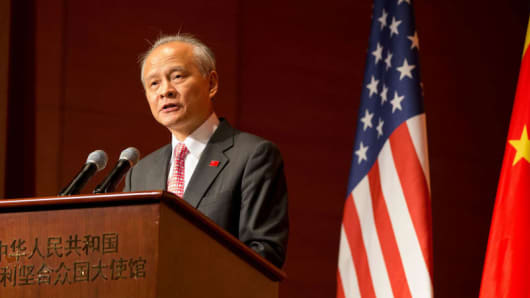 Chinese Ambassador to the United States Cui Tiankai speaks at a reception celebrating the 90th anniversary of the founding of the Chinese People's Liberation Army (PLA) at the Chinese embassy in Washington D.C., the United States, on July 27, 2017.