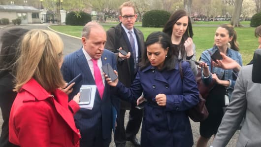 Larry Kudlow speaks to reporters in Washington, DC.