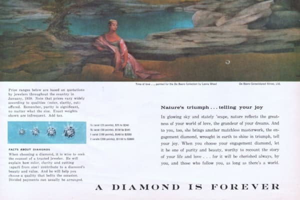 "A 1959 advertisement from De Beers emphasizes ""color, clarity, cut"" and stresses that ""purity is significant, no matter what the size."""