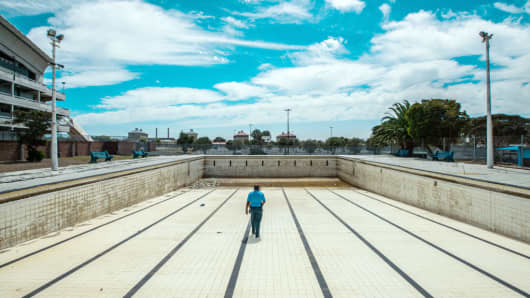 A public swimming pool, in a suburb of Cape Town has been emptied due to local water restrictions on March 6, 2018.