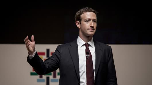 Mark Zuckerberg, founder and chief executive officer of Facebook, speaks during the APEC 2016 CEO Summit in Lima, Peru, on November 19, 2016.