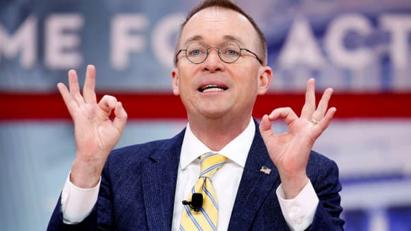 Director of the Office of Management and Budget Mick Mulvaney speaks at the Conservative Political Action Conference (CPAC) at National Harbor, Maryland, February 24, 2018.