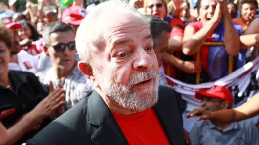 Former Brazilian President Luiz Inacio Lula da Silva is greeted by supporters during a rally in Santana do Livramento, Rio Grande do Sul state, Brazil March 19, 2018.