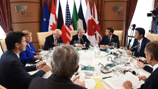 Leaders attend the Summit of the Heads of State and of Government of the G7, the group of most industrialized economies, plus the European Union, on May 26, 2017 in Taormina, Sicily.