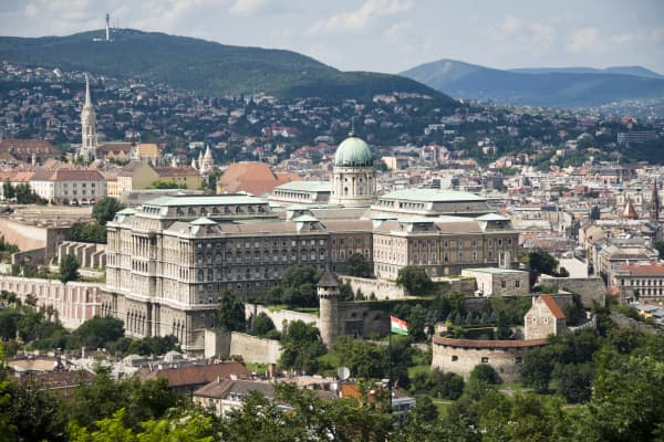 Panoramic view over the Castle Hill of Budapest with Buda Royal Palace and the Castle District.