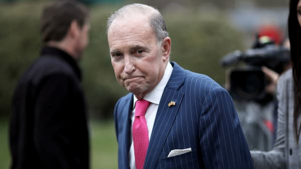Larry Kudlow, Director of the National Economic Council, speaks to reporters outside the White House April 4, 2018 in Washington, DC.