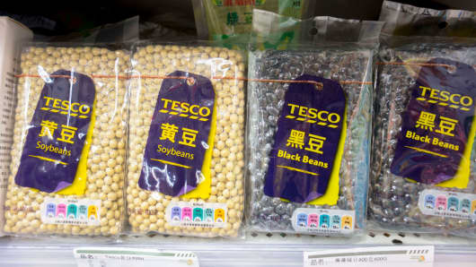 TESCO Soybean products sold in a Chinese supermarket, April 5, 2018.