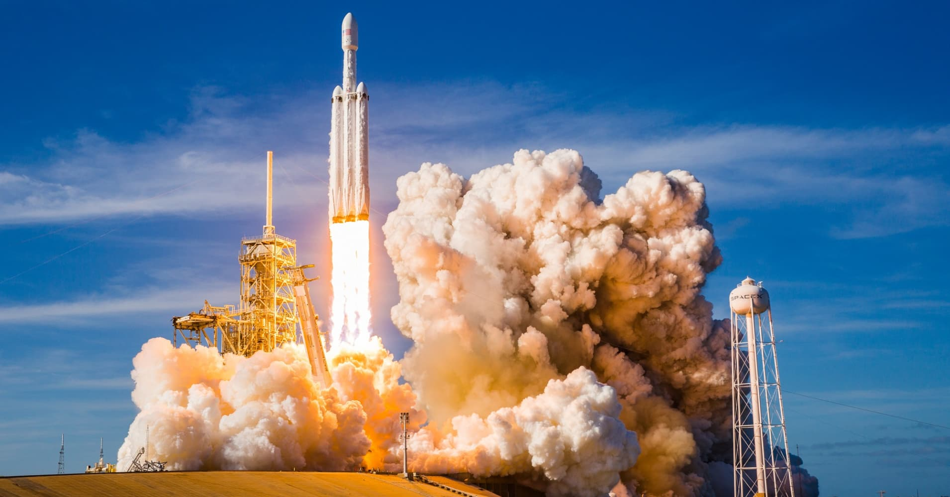 SpaceX launches its Falcon Heavy from launchpad 39A at NASA's Kennedy Space Center in Florida on February 6, 2018.
