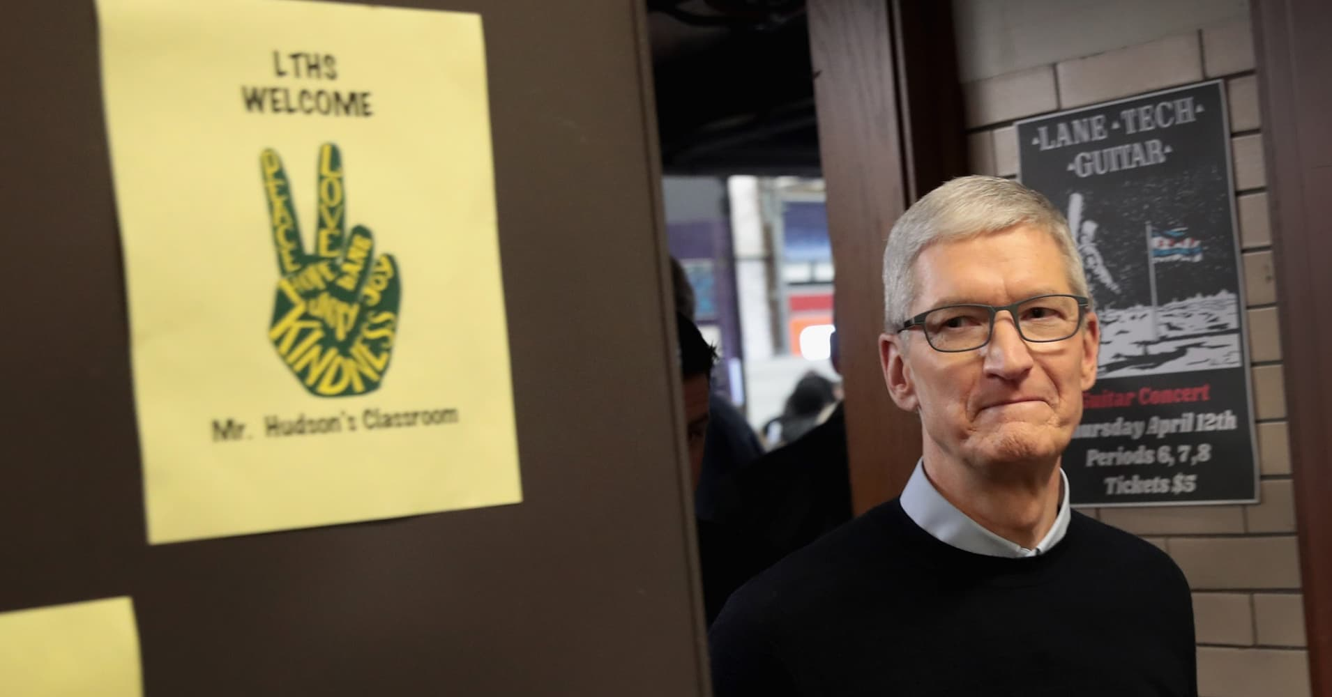 Apple CEO Tim Cook tours labs to view demonstrations of apps during an event at Lane Tech College Prep High School on March 27, 2018 in Chicago, Illinois.