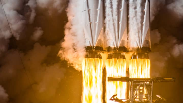 Close up on the SpaceX Falcon Heavy engines during liftoff from NASA's Kennedy Space Center in Florida.