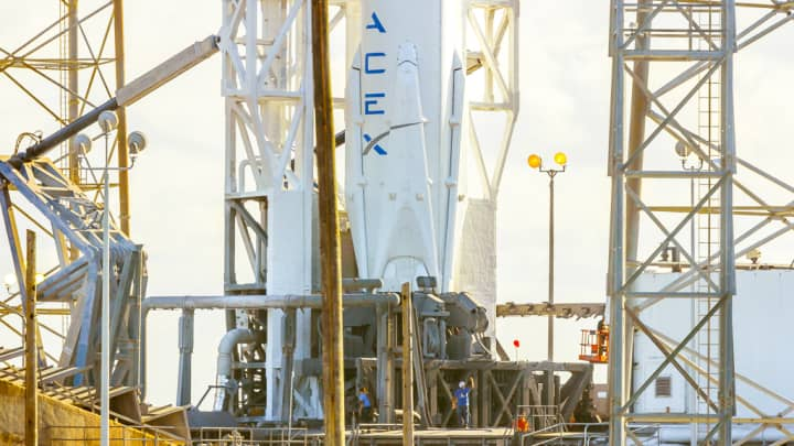 Preparations before the launch of a SpaceX Falcon 9 rocket.