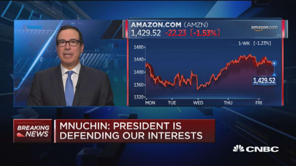Treasury Secretary Mnuchin: Amazon practices 'unfair relative to other retailers'
