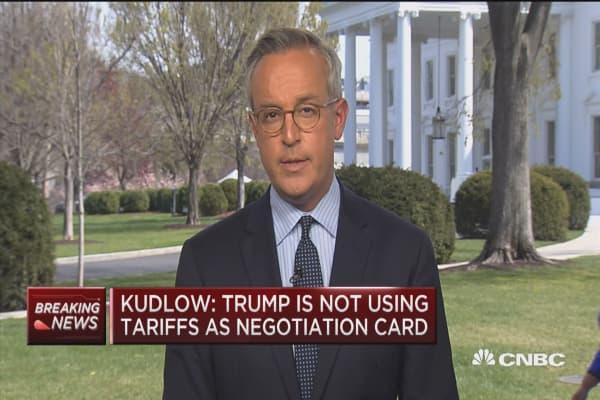 Kudlow: Trump is not using tariffs as negotiation card