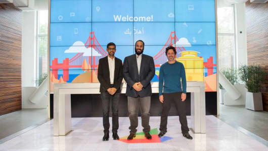 Google CEO Sundar Pichai, Saudi Crown Prince Mohammad bin Salman and Google co-founder Sergey Brin