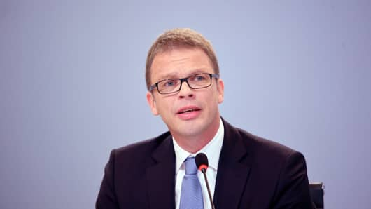 Management board member of Deutsche Bank Christian Sewing speaks to the media at Deutsche Bank headquarters on October 29, 2015 in Frankfurt, Germany.