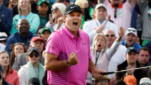 Patrick Reed of the U.S. celebrates winning the 2018 Masters tournament after final round play at the Augusta National Golf Club in Augusta, Georgia, April 8, 2018.