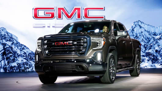 2019 GMC Sierra SLT truck is unveiled during an event at Russell Industrial Complex in Detroit, Michigan, on Thursday, March 1, 2018.