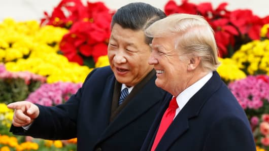 Chinese President Xi Jinping and U.S. President Donald Trump attend a welcoming ceremony November 9, 2017 in Beijing, China.