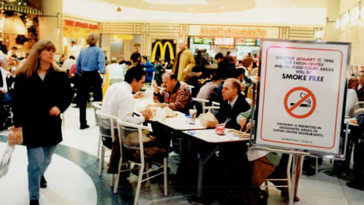 A food court in 1996.