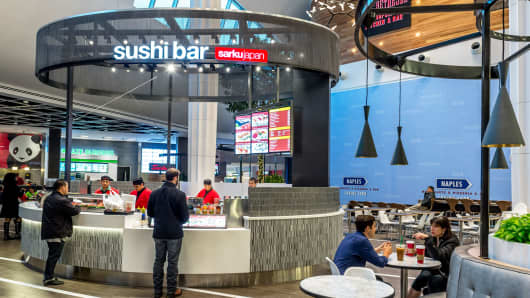 A food court at Westfield Montgomery in Bethesda, Maryland.