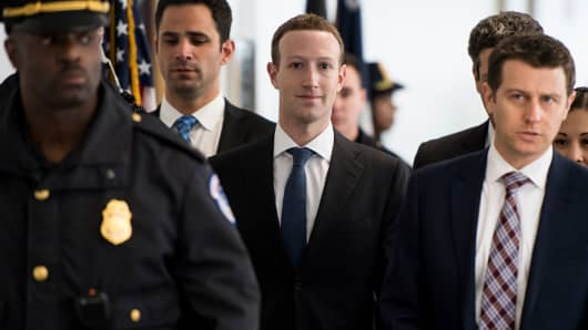Facebook CEO Mark Zuckerberg arrives for his meeting with Sen. Bill Nelson, D-Fla., in the Hart Senate Office Building on Monday, April 9, 2018. Zuckerberg is on Capitol Hill to testify before the House and Senate this week.
