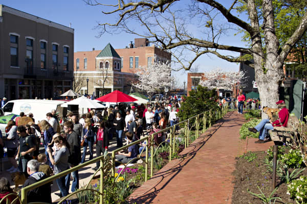 Residents enjoy the saturday morning Farmers Market on the square in downtown Fayetteville, Arkansas.