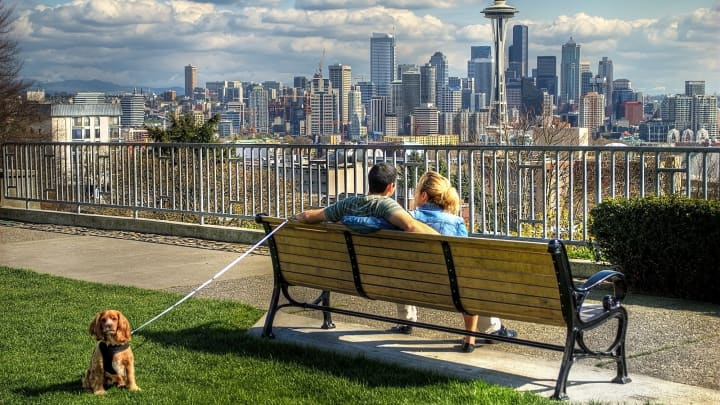 Seattle, the largest city in the Pacific Northwest, has spectacular views of the Cascade mountains to the east and the Olympic mountains to the west.