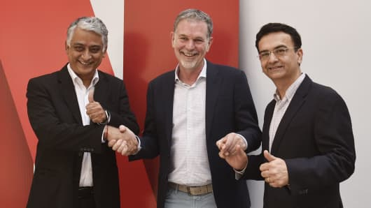 (R-L)Sandeep Kataria, Director Commercial Vodafone India; Reed Hastings, Co founder and CEO, Netflix and Himanshu Patil , COO Videocone d2h Limited at Netflix's Multi-Platform Parterships Annoucement on March 6, 2017 in New Delhi, India.