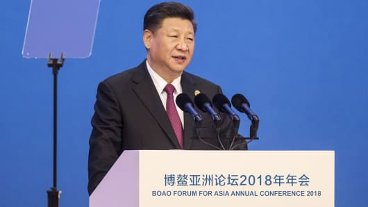 Xi Jinping, China's president, speaks at the Boao Forum for Asia Annual Conference in Boao, China, on Tuesday, April 10, 2018.