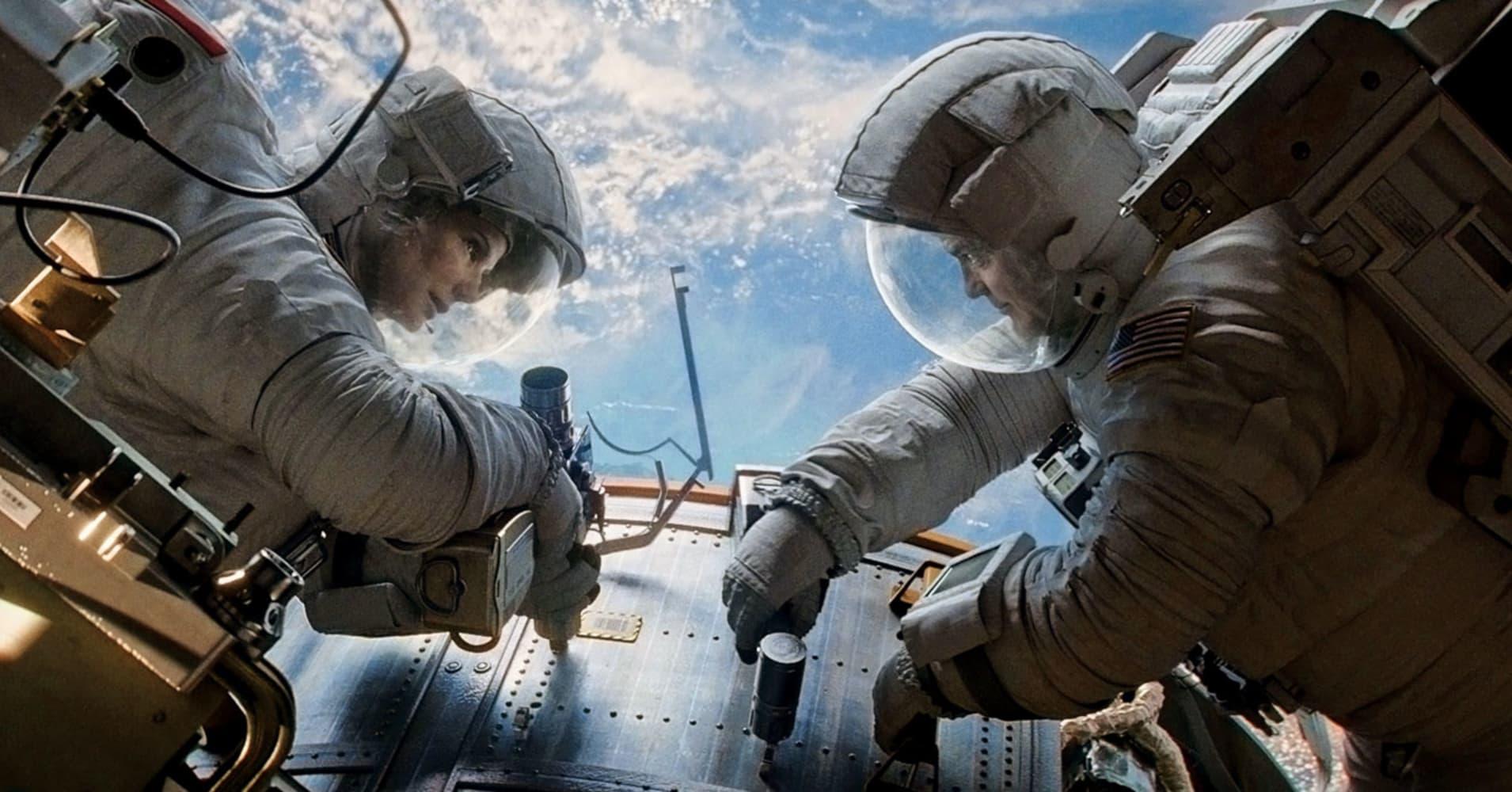 Sandra Bullock and George Clooney in Gravity.