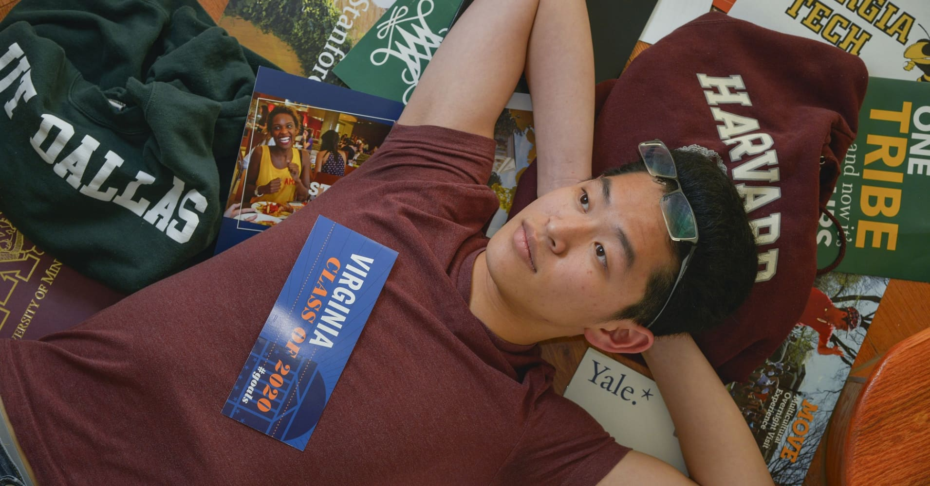 Apollo Yong, a 17-year-old student at Washington-Lee High, pictured at his home on Wednessday, April 13, 2016, in Arlington, VA. Yong is among thousands of students who have places on acceptance wait lists for universities around the country. He as been accepted into U-Va., Georgia Tech and UT Dallas, and he was waitlisted by University of C