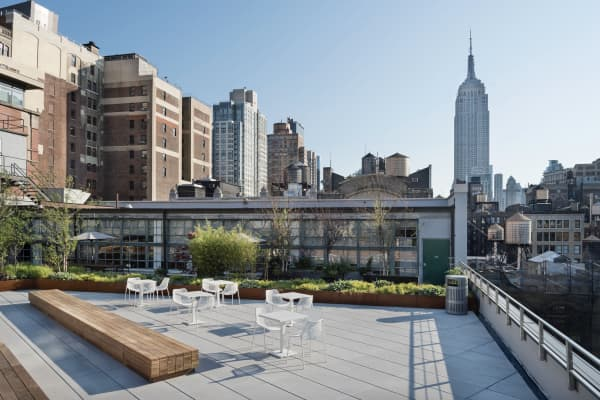 A view of New York from BMF Media's rooftop garden