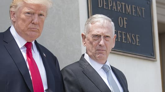 Secretary of Defense Jim Mattis and President Donald Trump are seen following a meeting at the Pentagon in Washington, D.C., July 20, 2017.