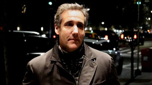 President Donald Trump's personal lawyer Michael Cohen is pictured arriving back at his hotel in the Manhattan borough of New York City, New York, U.S., April 10, 2018.