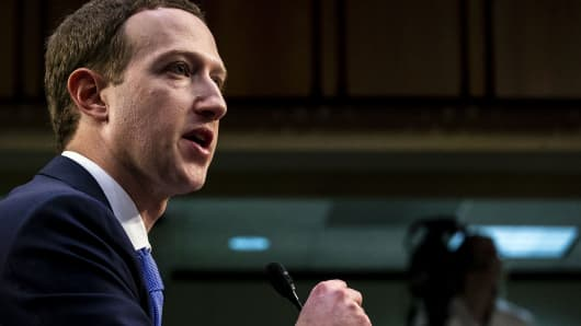 Mark Zuckerberg, chief executive officer and founder of Facebook Inc., speaks during a joint hearing of the Senate Judiciary and Commerce Committees in Washington, D.C., U.S., on Tuesday, April 10, 2018.