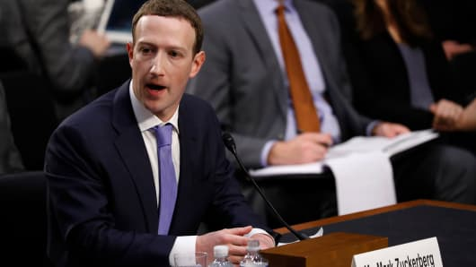 Facebook CEO Mark Zuckerberg testifies before a joint Senate Judiciary and Commerce Committees hearing regarding the company's use and protection of user data, on Capitol Hill in Washington, U.S., April 10, 2018.