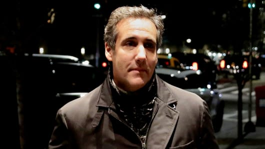 President Donald Trump's personal lawyer Michael Cohen is pictured arriving back at his hotel in the Manhattan borough of New York City, New York, April 10, 2018.
