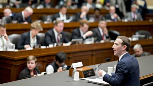 Mark Zuckerberg, chief executive officer and founder of Facebook, speaks during a House Energy and Commerce Committee hearing in Washington, D.C., U.S., on Wednesday, April 11, 2018.