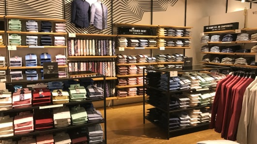 There's a big space for men's workwear in the store.
