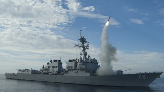 Sailors aboard the guided-missile destroyer USS Preble conduct an operational tomahawk missile launch while underway in a training area off the coast of California.