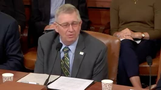 John Heisdorffer, president of the American Soybean Association, testifying before the House Ways and Means committee hearing on trade issues.
