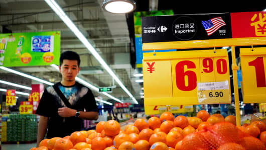 Imports from the U.S. are seen at a supermarket in Shanghai, China April 3, 2018.
