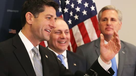 House Speaker Paul Ryan (R-WI) speaks while flanked by House Majority Whip, Steve Scalise (R-LA) (C) and House Majority Leader Kevin McCarthy (R-CA), during a news conference on Capitol Hill December 5, 2017 in Washington, DC.