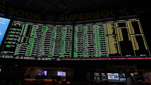 Some of the more than 400 proposition bets for Super Bowl LI between the Philadelphia Eagles and the New England Patriots are displayed at the Race & Sports SuperBook at the Westgate Las Vegas Resort & Casino on January 26, 2018 in Las Vegas, Nevada.