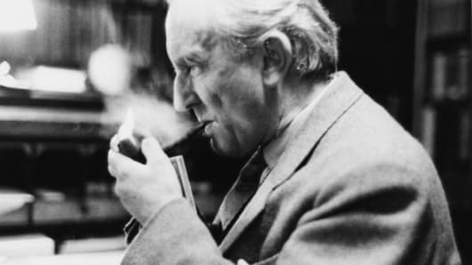 """Lord of the Rings"" author JRR Tolkien in his study at Merton College, Oxford, 2nd December 1955."