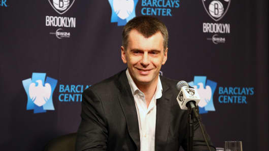 Majority Owner Mikhail Prokhorov of the Brooklyn Nets addresses the media during a press conference prior to a game between the Atlanta Hawks and the Brooklyn Nets on April 8, 2015 at Barclays Center in Brooklyn, NY.