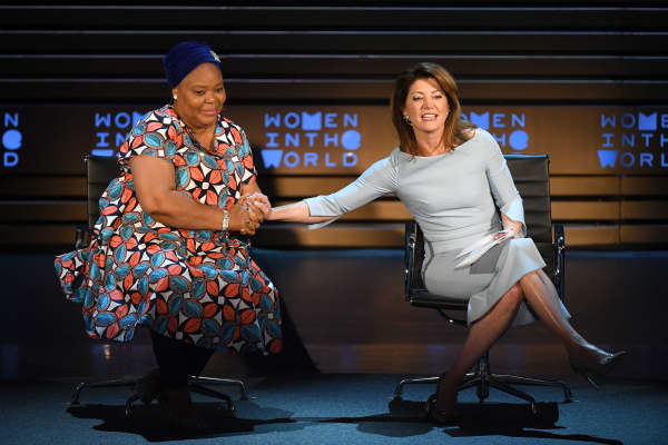 Activist Leymah Gbowee (L) and journalist Norah O'Donnell speak onstage during the 2018 Women In The World Summit at Lincoln Center on April 12, 2018 in New York City.