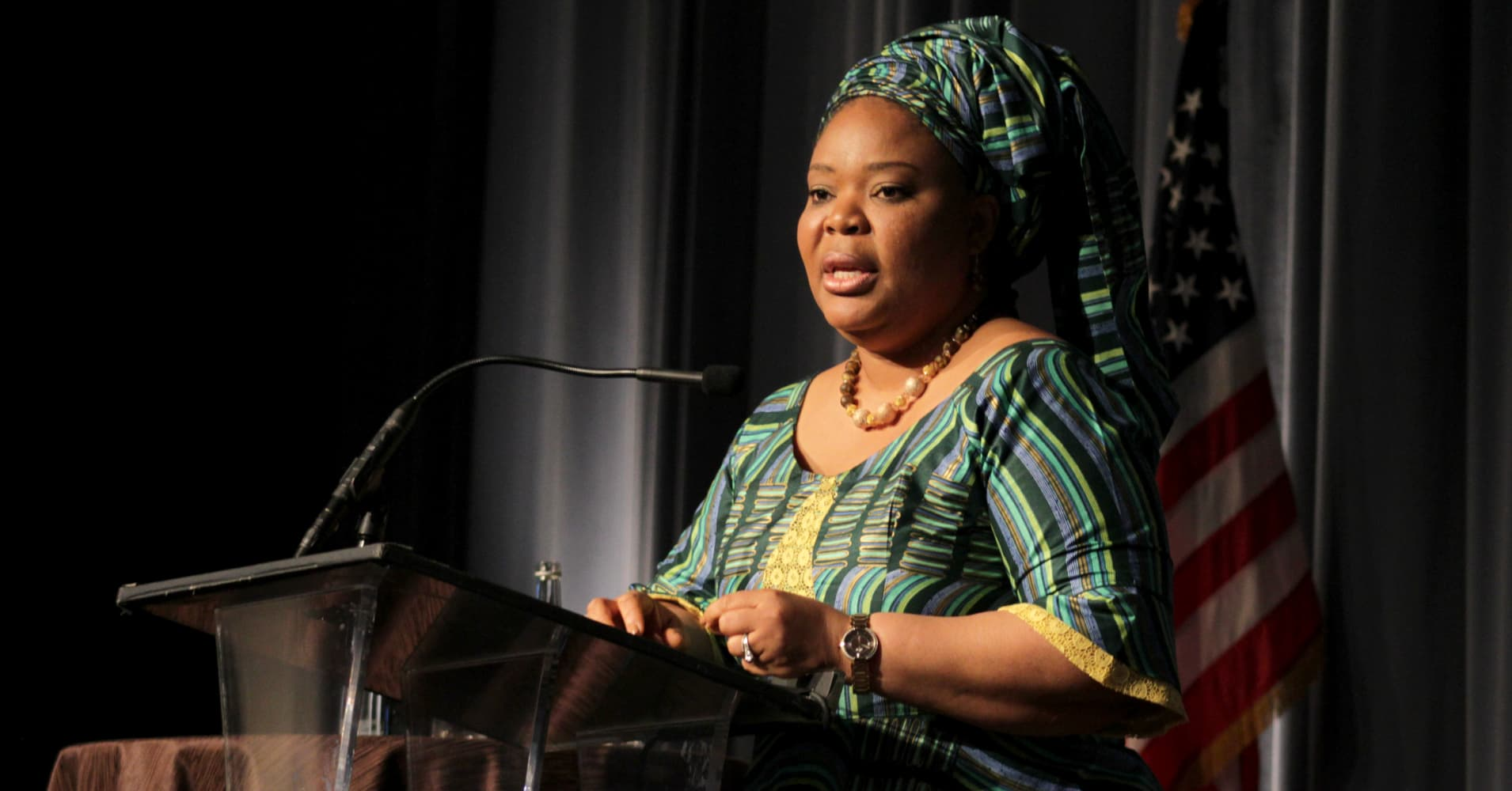 Nobel Peace Laureate Leymah Gbowee speaks about 'The Role of Women at the Front Lines of Peace Building' during a Visionary Women Salon at the Beverly Wilshire Four Seasons Hotel on May 5, 2015