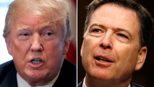 A combination of file photos show U.S. President Donald Trump in the White House in Washington, DC, U.S. April 9, 2018 and former FBI Director James Comey on Capitol Hill in Washington, U.S., June 8, 2017.